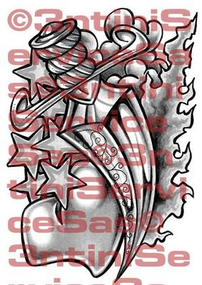 Product picture Tattoo flashes - Dagger with Heart, Stars and Flames