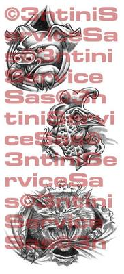 Product picture 3 x Tattoo flashes - Underskin: Animals